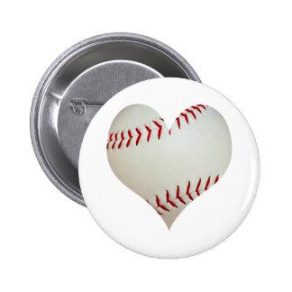 Basebol americano em uma forma do coração pins