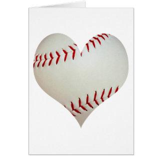 Basebol americano em uma forma do coração cartão comemorativo