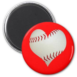 Basebol americano em uma forma do coração ímã redondo 5.08cm