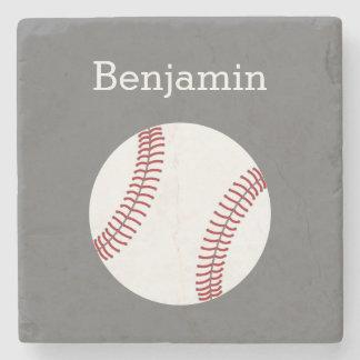 Basebol com nome feito sob encomenda - cinza porta-copos de pedra