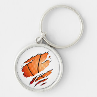 Basketball Keychain Chaveiro Redondo Na Cor Prata