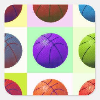 Basquetebol do pop art adesivo quadrado