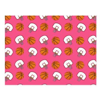 Basquetebol e teste padrão cor-de-rosa das redes cartão postal