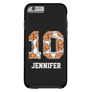 Basquetebol personalizado número 10 capa tough para iPhone 6