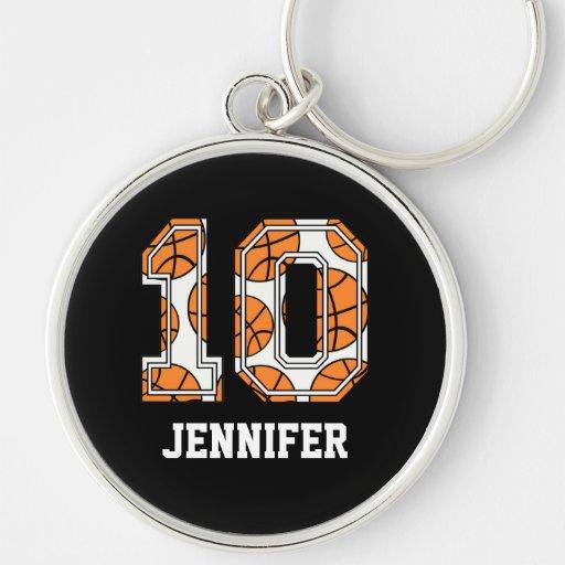 Basquetebol personalizado número 10 chaveiro