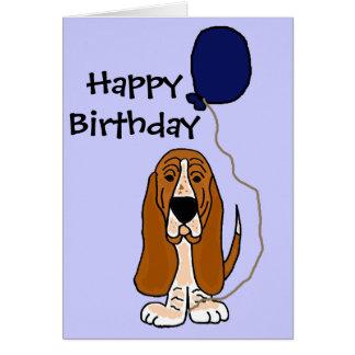 Basset Hound engraçado que guardara o balão azul Cartão Comemorativo