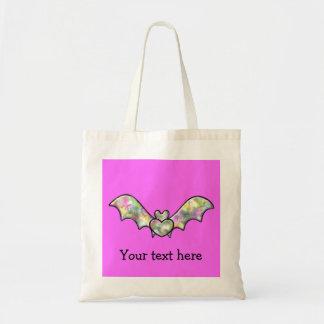 Bastão e coração cor-de-rosa do Dia das Bruxas Sacola Tote Budget