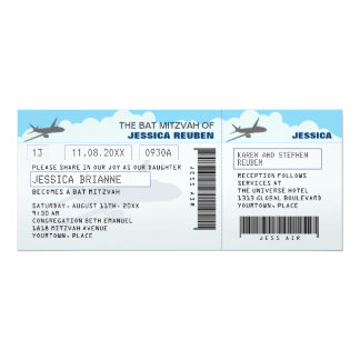 """Bastão Mitzvah do bar do bilhete de avião Convite 10.16"""" X 23.49cm"""