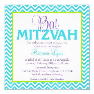 Bastão roxo Mitzvah do verde azul da cerceta de Convite Quadrado 13.35 X 13.35cm