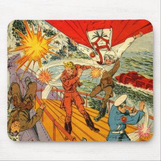 Batalha da banda desenhada do vintage do kitsch 'e mouse pad