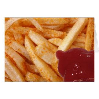 Batatas fritas e ketchup cartão