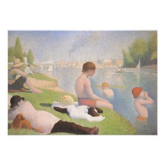 Bathers em Asnieres por Georges Seurat Convite Personalizado