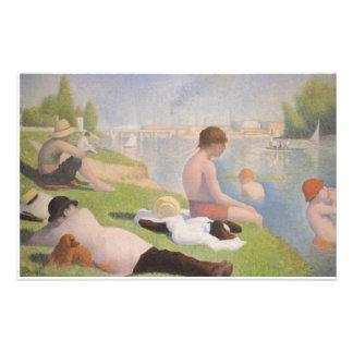 Bathers em Asnieres por Georges Seurat Papelaria