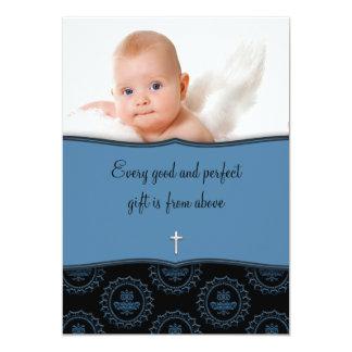Batismo azul da foto do bebé convite 12.7 x 17.78cm