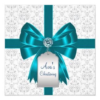 Batismo azul do bebê do damasco da cerceta branca convite quadrado 13.35 x 13.35cm