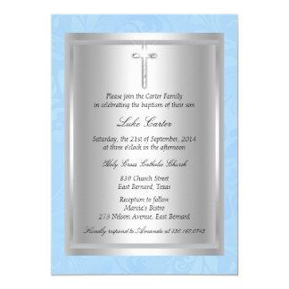 Batismo azul transversal de prata do baptismo convite 12.7 x 17.78cm