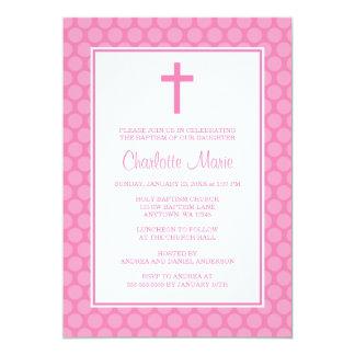 Batismo branco cor-de-rosa do baptismo da cruz das convite 12.7 x 17.78cm