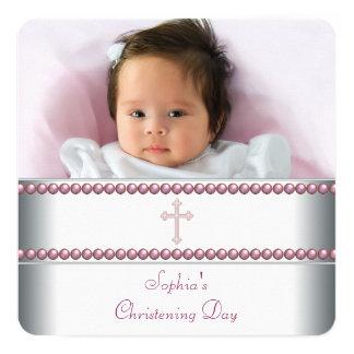 Batismo cor-de-rosa da pérola convite quadrado 13.35 x 13.35cm