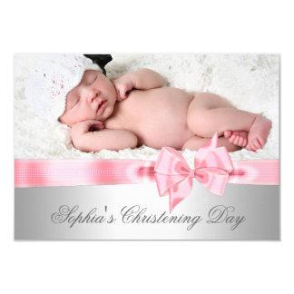 Batismo cor-de-rosa de prata da foto da menina do convite 8.89 x 12.7cm