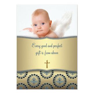 Batismo elegante da foto do bebé do azul e do ouro convite 12.7 x 17.78cm