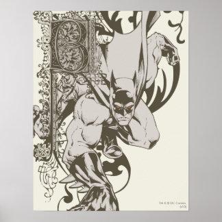Batman e letra decorada B Poster