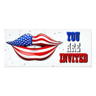 """Batom da bandeira dos EUA no cartão de sorriso do Convite 10.16"""" X 23.49cm"""
