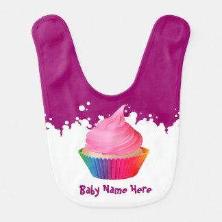 Baunilha cor-de-rosa customizável Cupake do arco-í Babadores Para Bebes