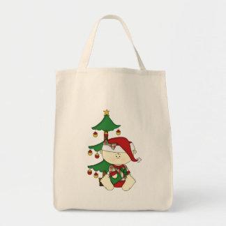 Bebê bonito do Natal com árvore Bolsa Tote