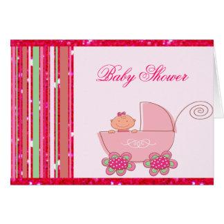 Bebé & chá de fraldas Glittery do rosa da morango Cartões