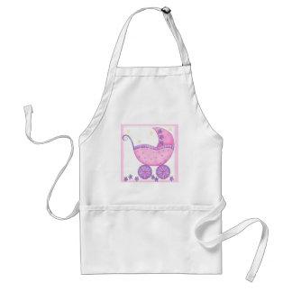 Bebê cor-de-rosa da carruagem do carrinho de bebê aventais