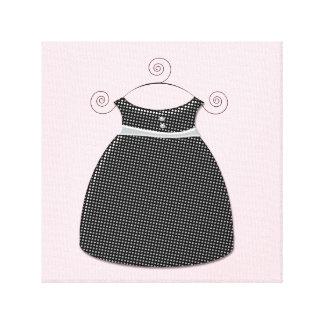 Bebé cor-de-rosa e preto do vestido lunático impressão em tela