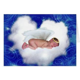 Bebê do anjo, dormindo em uma nuvem cartão comemorativo