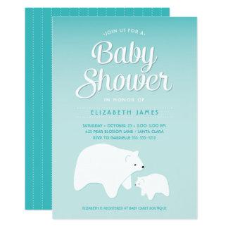 Bebê do urso polar convite 12.7 x 17.78cm