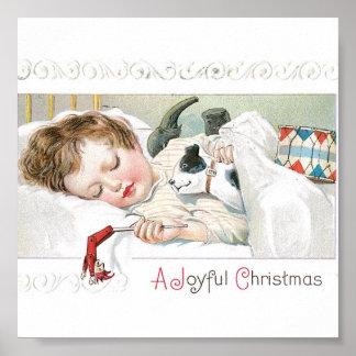 Bebê e cão do Natal Pôster