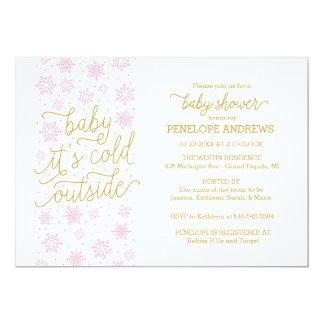 Bebê é chá de fraldas exterior frio do inverno convite 12.7 x 17.78cm