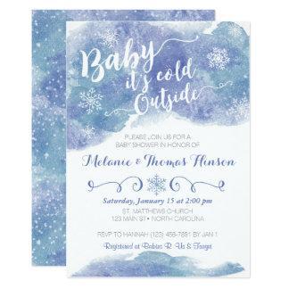 Bebê é convite exterior frio do chá de fraldas da