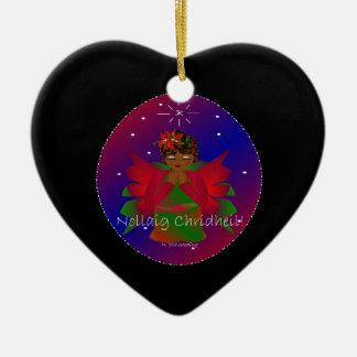 Bebê Nollaig Chridheil do anjo do Natal III Ornamento De Cerâmica Coração