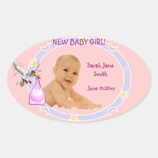 Bebé novo adesivos em formato ovais