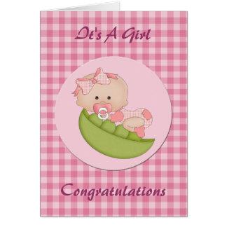 Bebé novo das felicitações em um rosa do vagem cartão comemorativo