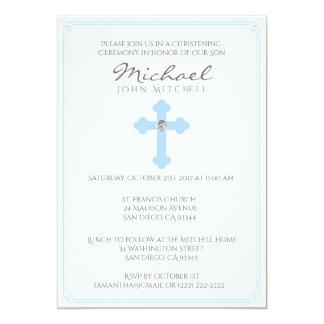Bebé transversal azul da cerimónia do batismo do convite 12.7 x 17.78cm