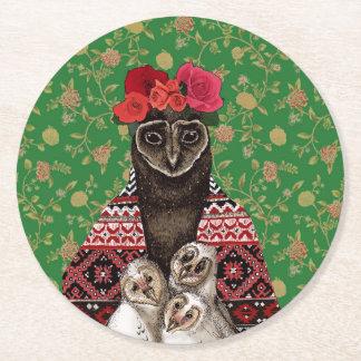 Bebês da coruja das objectivas triplas da mãe da porta-copo de papel redondo