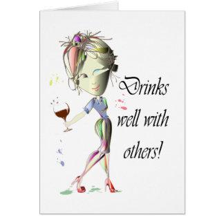 Bebidas bem com outro, arte engraçada do vinho cartão