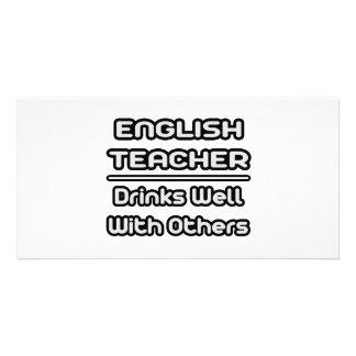 Bebidas do professor de inglês… bem com outro cartoes com fotos personalizados
