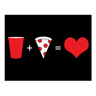 bebidas + pizza = amor cartão postal
