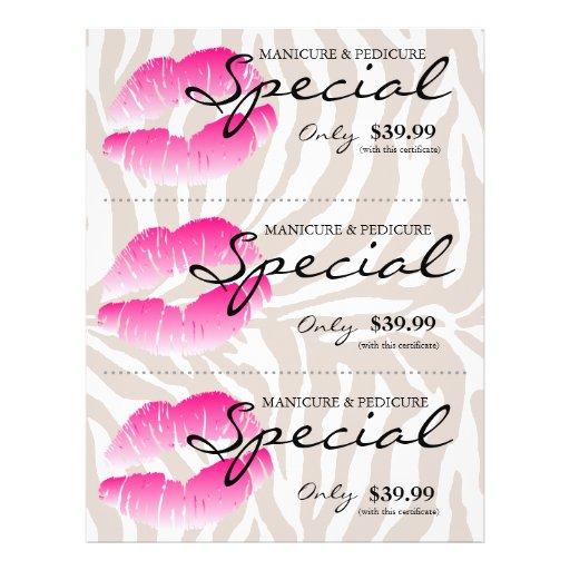 Bege cor-de-rosa da zebra dos lábios dos termas do panfleto personalizados