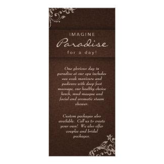Bege de linho floral Brown dos termas do salão de  10.16 X 22.86cm Panfleto