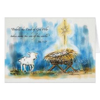 """""""Behold cartão de Natal do cordeiro"""""""