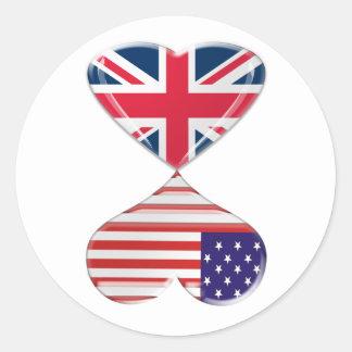 Beijando EUA e a arte BRITÂNICA das bandeiras dos Adesivo