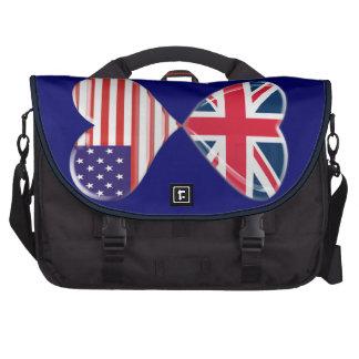 Beijando EUA e a bolsa mensageiro BRITÂNICA da art Pasta Para Notebooks