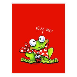 Beije-me joaninha do sapo n cartão postal